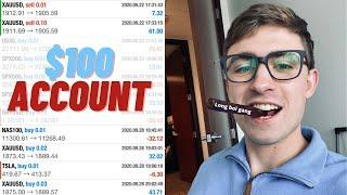 $100 Forex Day Trading Account Challenge: CRAZY Live Trading!